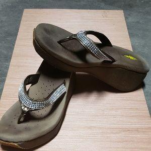 407adae8d Volatile Brown Bling Wedge Thong Sandals